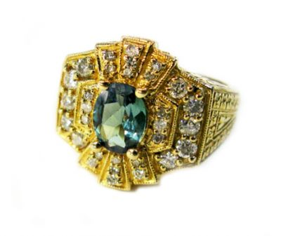 Vintage Inspired Alexandrite and Diamond Ring