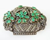 Vintage Inspired Emerald Diamond Floral Basket Brooch