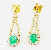 Vintage Inspired Emerald and Diamond Earrings