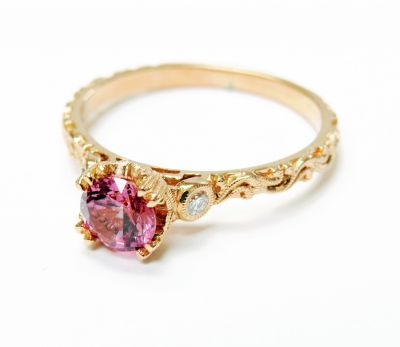 Vintage Inspired Pink Sapphire and Diamond Ring