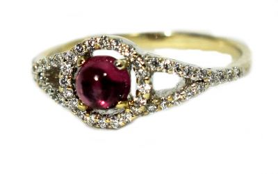 Vintage Inspired Purple Tourmaline and Diamond Ring
