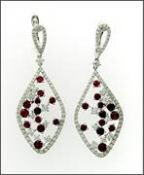 Vintage Inspired Ruby and Diamond Drop Earrings