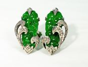 Vintage Jade and Diamond Earrings
