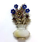 Vintage Multi Gemstone and Jade Floral Brooch