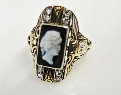 Vintage Onyx Cameo and Diamond Ring
