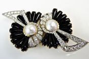 Vintage Onyx Diamond Pearl Brooch