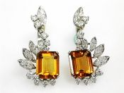 Vintage Orange Citrine and Diamond Earrings
