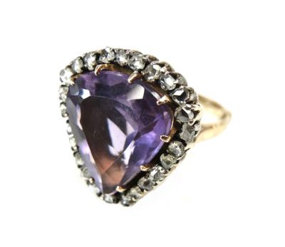 Vintage Pear Amethyst and Diamond Ring