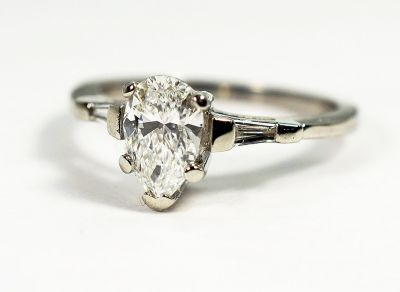 Vintage Pear Diamond Ring