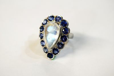 Vintage Pear Moonstone and Sapphire Ring