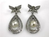Vintage Pearl and Diamond Drop Earrings