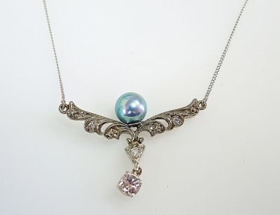 Vintage pearl and diamond necklace aloadofball Image collections