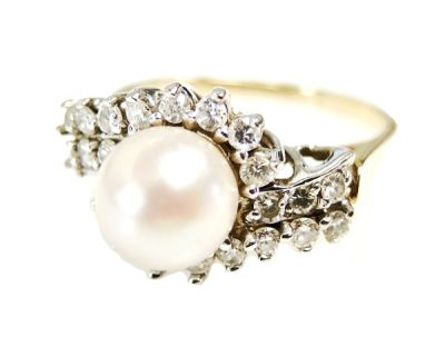 Vintage Pearl and Diamond Ring