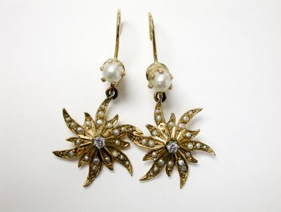 Vintage Pearl and Diamond Star Burst Drop Earrings