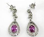 Vintage Pink Sapphire and Diamond Drop Earrings