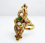 Vintage Portuguese Emerald Opal Diamond Ring