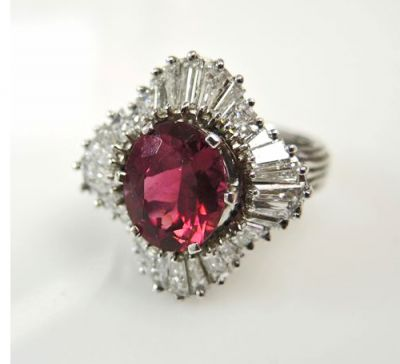 Vintage Red Tourmaline and Diamond Ballerina Cluster Ring