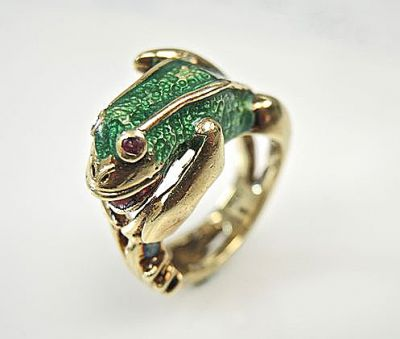 Vintage Ruby and Enamel Frog Ring