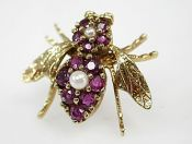 Vintage Ruby and Pearl Bee Brooch