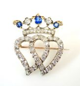 Vintage Sapphire and Diamond Double Heart Luckenbooth Brooch