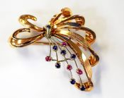 Vintage Sapphire and Ruby Brooch