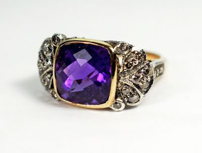 Vintage Style Amethyst and Diamond Ring