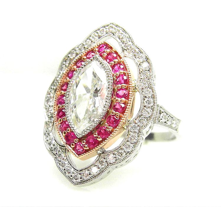 Vintage Style Marquise Diamond And Pink Sapphire Ring