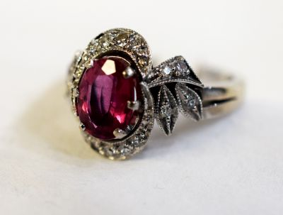 Vintage Style Pink Tourmaline and Diamond Ring