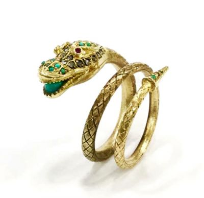 Vintage Synthetic Ruby Diamond Chrysoprase Serpent Ring