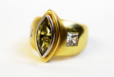 Vintage-Yellow-Marquise-Diamond-and-CZ-Ring-AGL64208-82356
