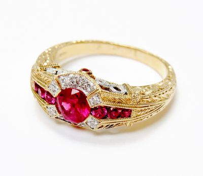 Vintage Inspired Ruby and Diamond Ring