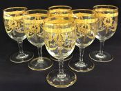 Vintage Acid Etched Gold Wine Glasses, Set of 14