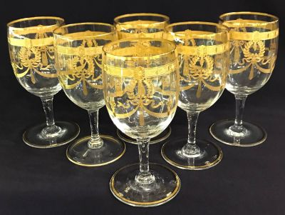 Vintage Acid Etched Gold Wine Glasses  Set of 14 b