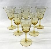 Vintage Amber Crystal Wine Glasses with Etched Floral Pattern