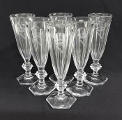 Vintage Baccarat Crystal Champagne Flutes In The Harcourt Pattern