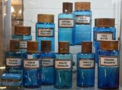 Vintage Blue Glass Apothecary Jars