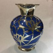 Vintage Blue Porcelain Vase with Sterling Silver Overlay
