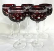 Vintage Bohemian Ruby Flash Crystal Hock Wine Glasses