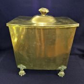 Vintage Brass Coal Scuttle With Original Tin Liner