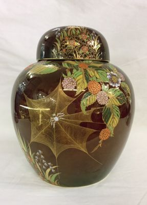 Vintage Carlton Ware Rouge Royale Spider Web Enameled Ginger Jar 6