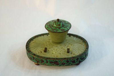 Vintage Carved Jade and Enamel Inkstand - 1
