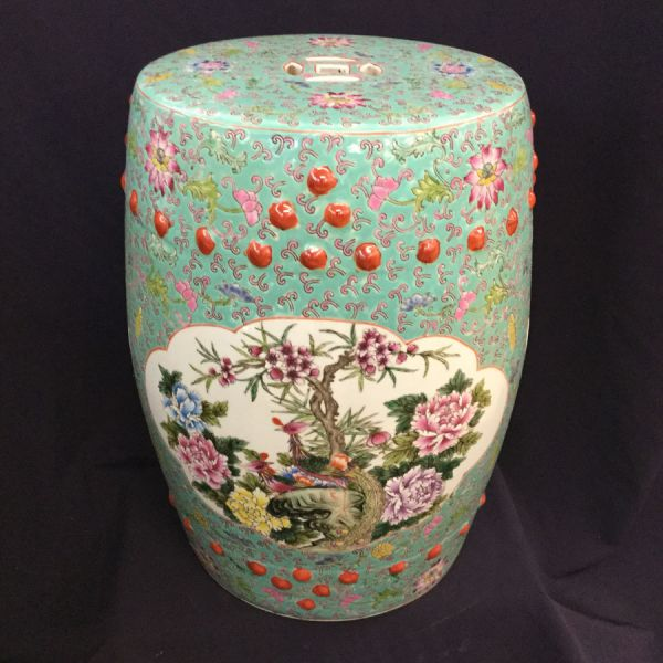 Vintage Chinese Barrel Shaped Ceramic Garden Stool Side Table