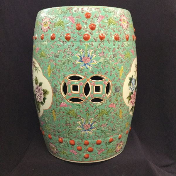 Vintage Chinese Barrel Shaped Ceramic Garden Stool Side