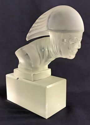 Vintage Clear   Frosted Glass Hood Ornament Sculpture 11