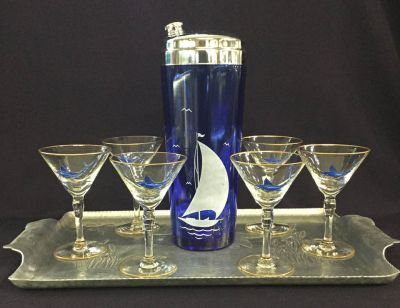 Vintage Cocktail Shaker Glasses And Tray