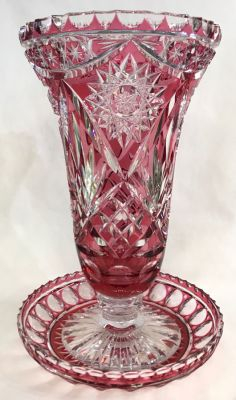 Vintage Cranberry To Clear Cut Crystal Vase   Stand 3
