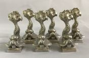 Vintage Dolphin Silver Plate Place Card Holders