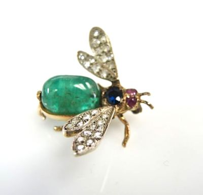 Vintage Emerald Diamond Ruby Sapphire Wasp Brooch
