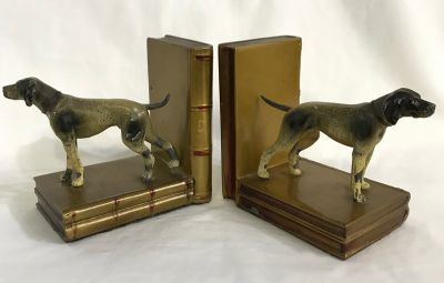 Vintage English Pointer bookends