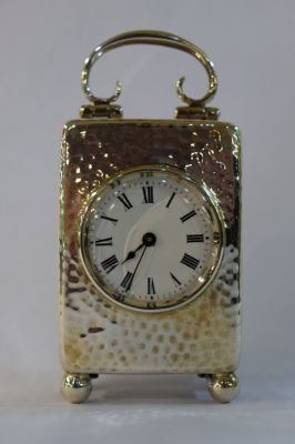 Vintage English Silver Hand Hammered Carriage Clock  Birmingham  C